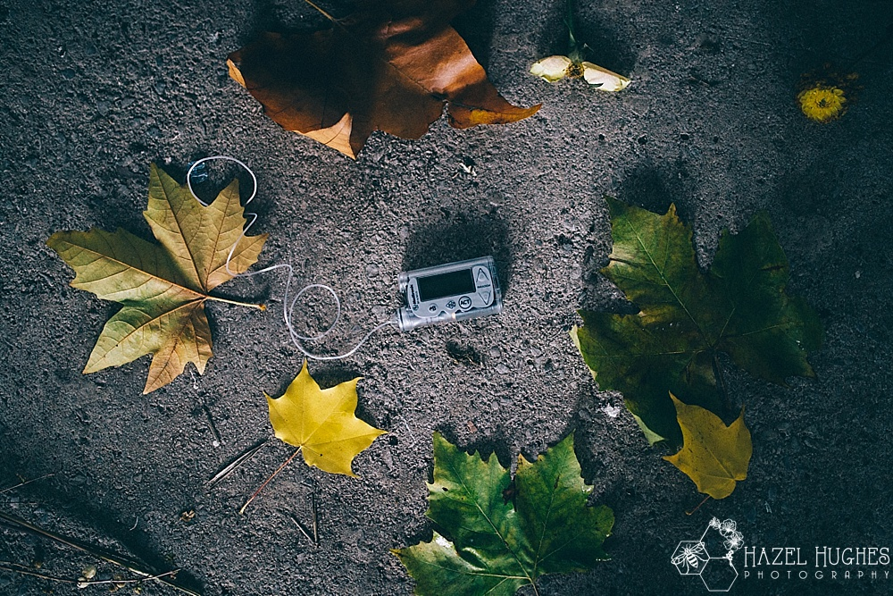 insulin pump and autumn leaves